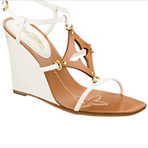 cd90f461f011 Louis Vuitton Shoes - Louis Vuitton Capricieuse Wedge Sandals Size 39